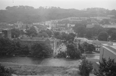 Bangor from the University, showing Theatr...