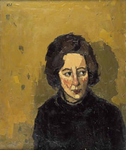 Portrait of a young woman looking left