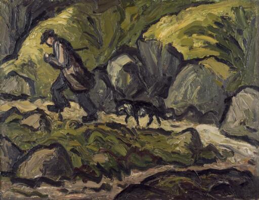 Farmer & dog climbing a rocky path