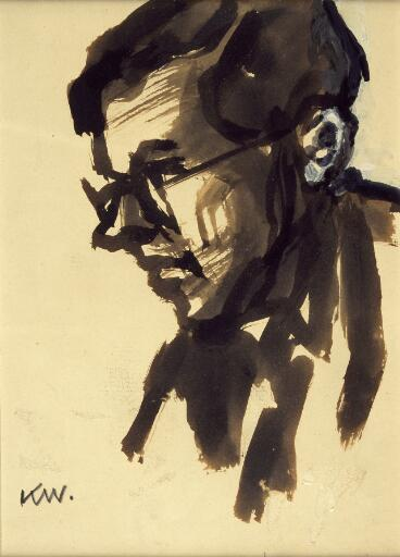 Head & shoulders of man with glasses, looking left