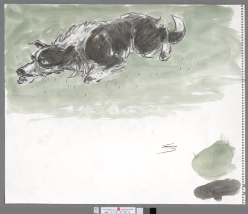Crouching sheepdog, light green background