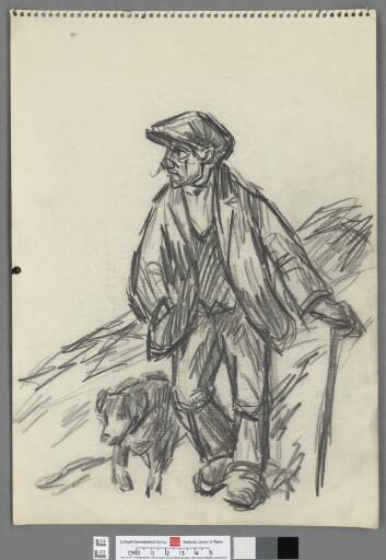 Farmer with stick and dog