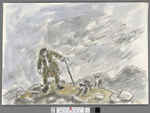 Farmer with stick and two dogs in rocky landscape