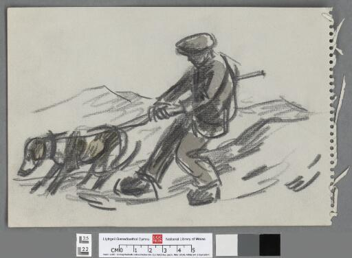 Farmer with tethered dog