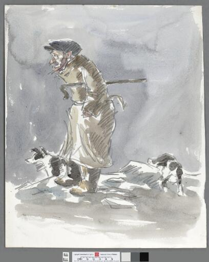 Farmer standing against the wind, with two dogs