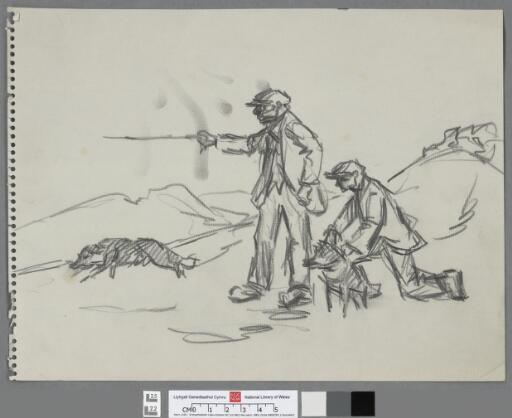 Two farmers commanding their dogs