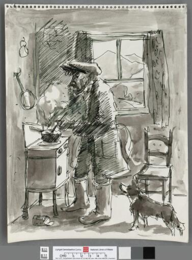 Farmer cooking ,with Snowdonia through window
