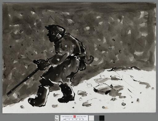 Farmer with a stick in a snowstorm
