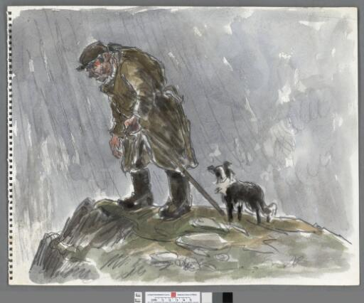 Farmer with shepherds crook and dog