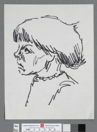 Head & shoulders of young girl looking left
