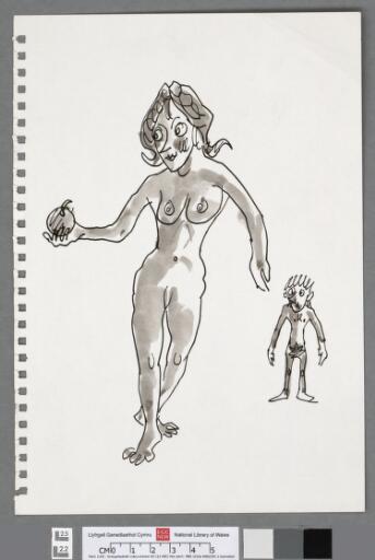 Cartoon self portrait as Adam, with Eve and apple