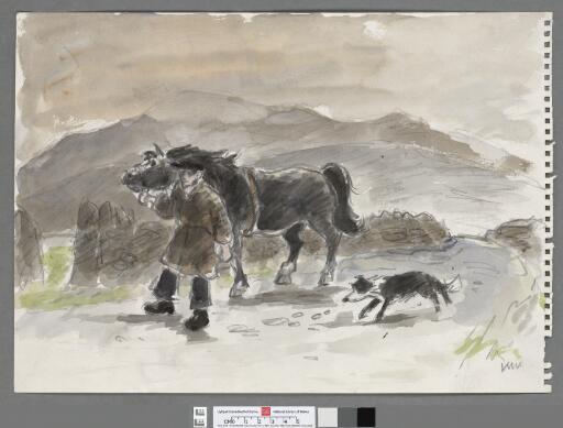 Farmer with horse & dog