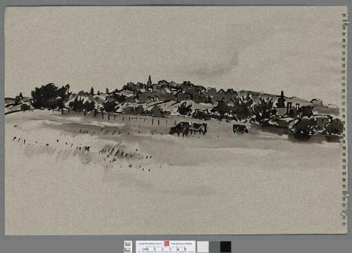 Cattle grazing, with houses and church in the...
