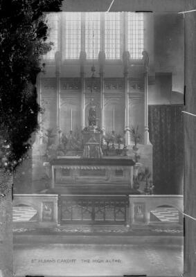 St Albans, Cardiff : The High Altar. ca.1905