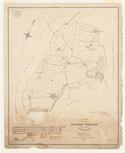 Map of the parish of Llanfair Treflygen in the...