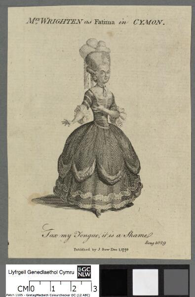 Mrs. Wrighten as Fatima in Cymon