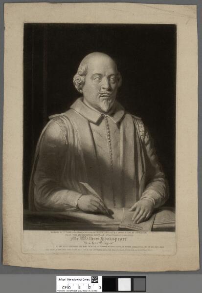 """Mr. William Shakespeare """"his true effigies..."""