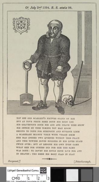 Robert Scarlett ot. July 2nd 1594. R.S. aetatis 98