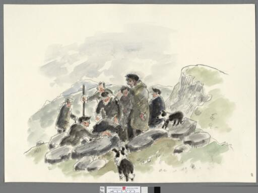 Group of farmers hunting a fox