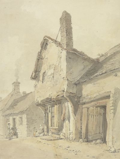 A Village Street, Figures by Old Cottages