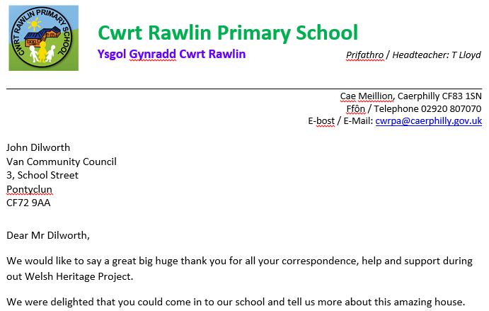 Llythyr diolch Ysgol Gynradd Cwrt Rawlin i Mr...