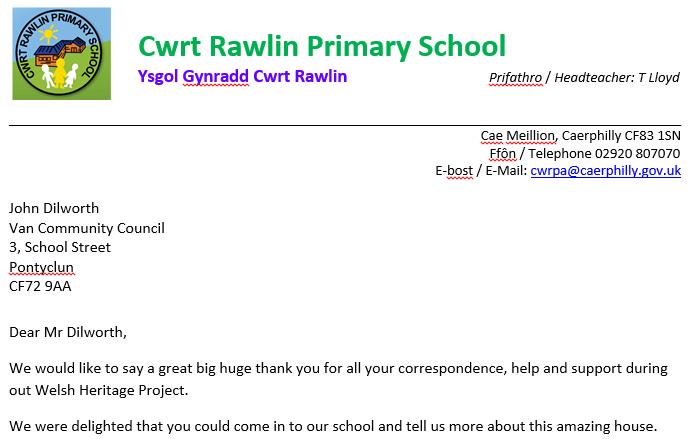Cwrt Rawlin Primary School's thankyou...