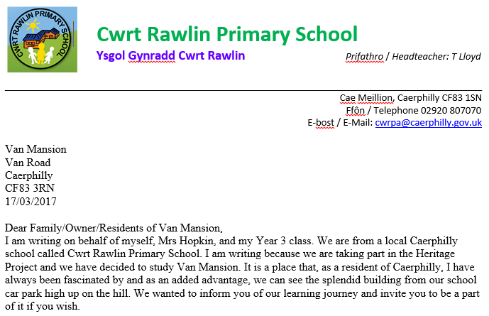 Cwrt Rawlin Primary School's letter to Van...