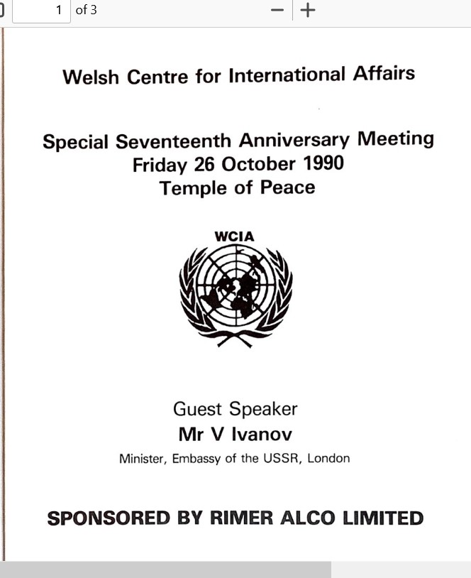 1990 WCIA Anniversary Lecture