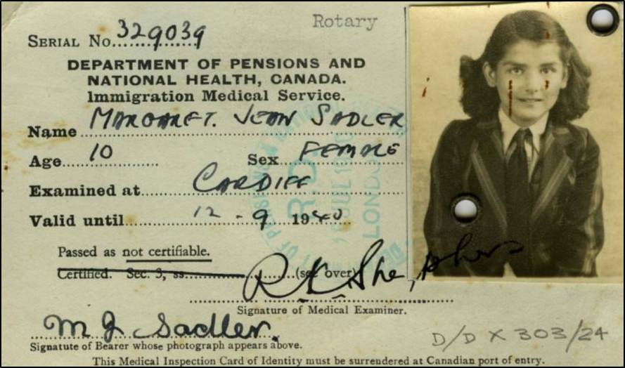Immigration Medical Card from WW2