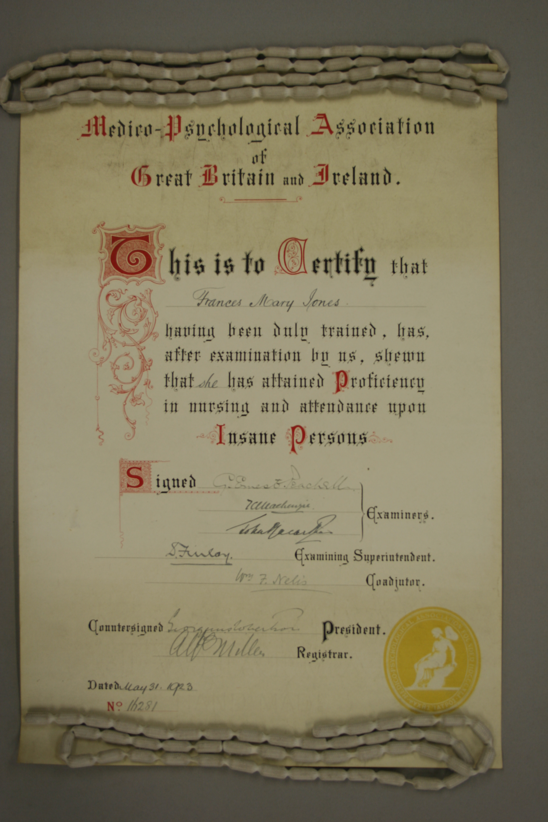 Nursing Certificate From 1923
