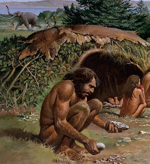 Reconstruction painting showing an Early Neanderthal Man.  Reconstruction ...