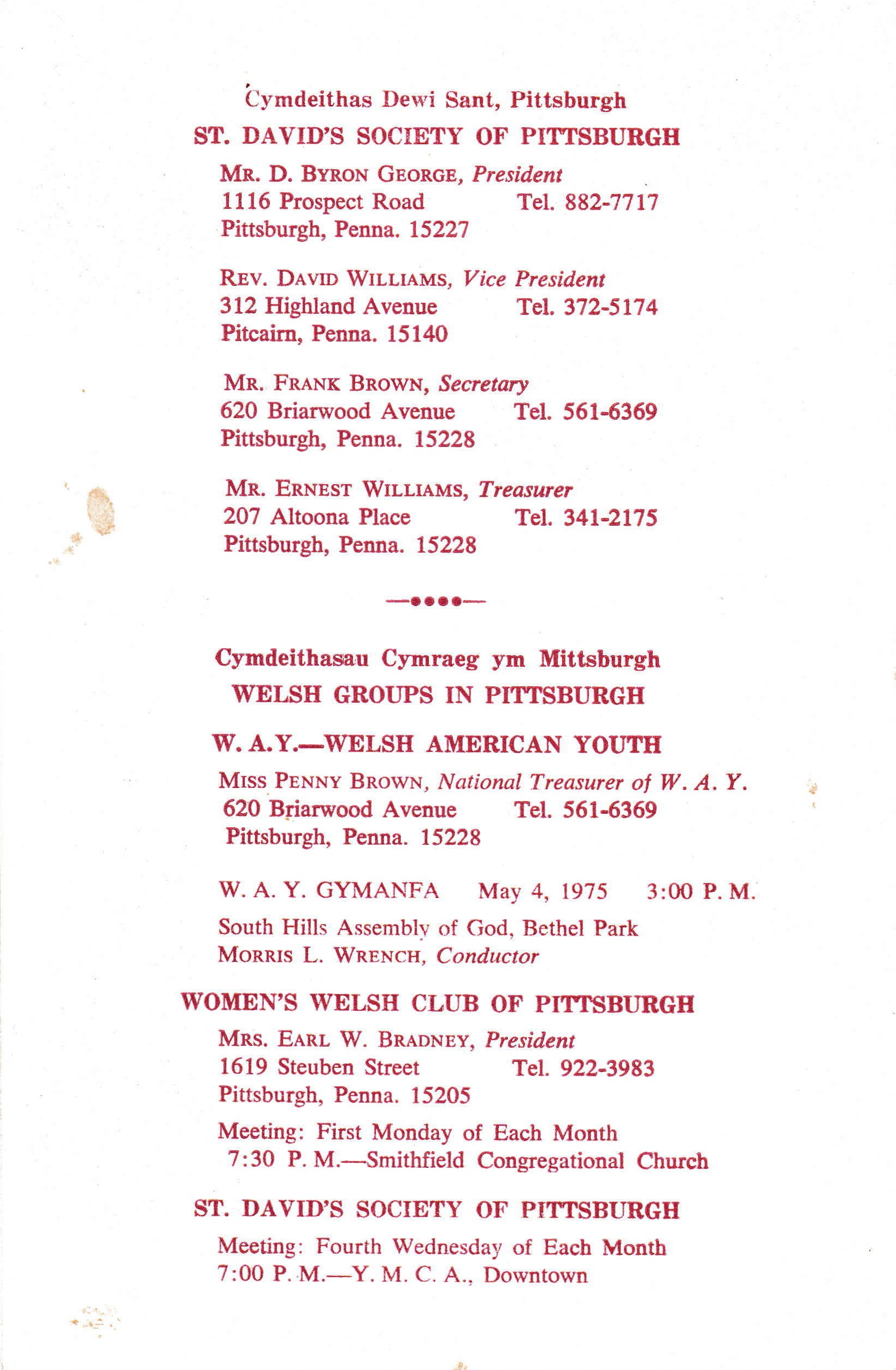 1975 St  David's Day Banquet - Pittsburgh