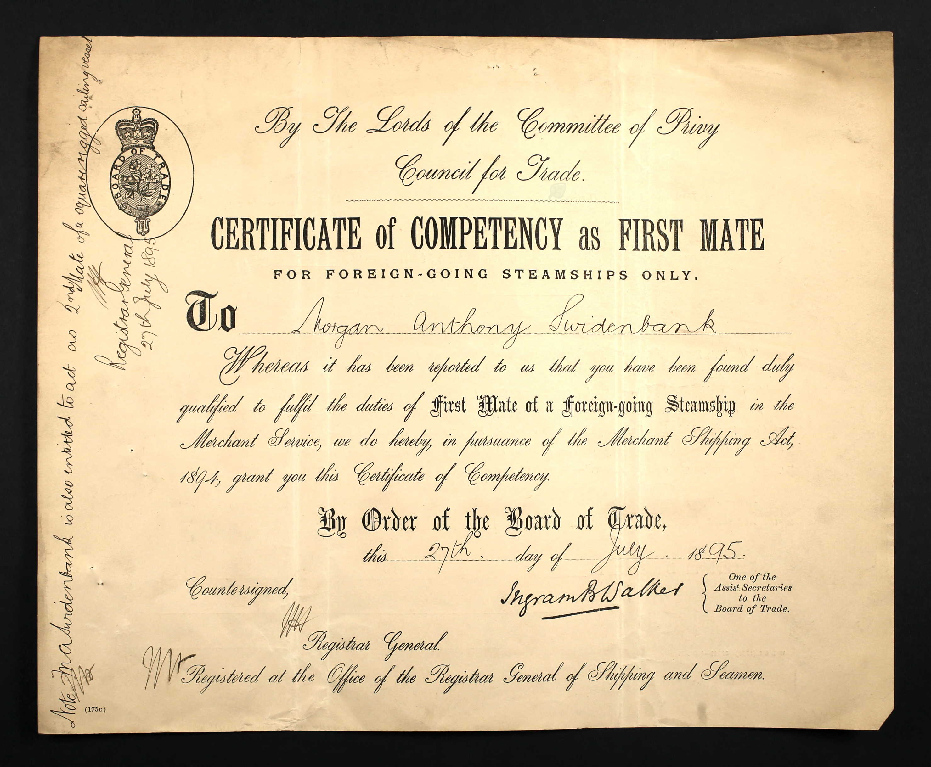 Certificate Of Competency As First Mate