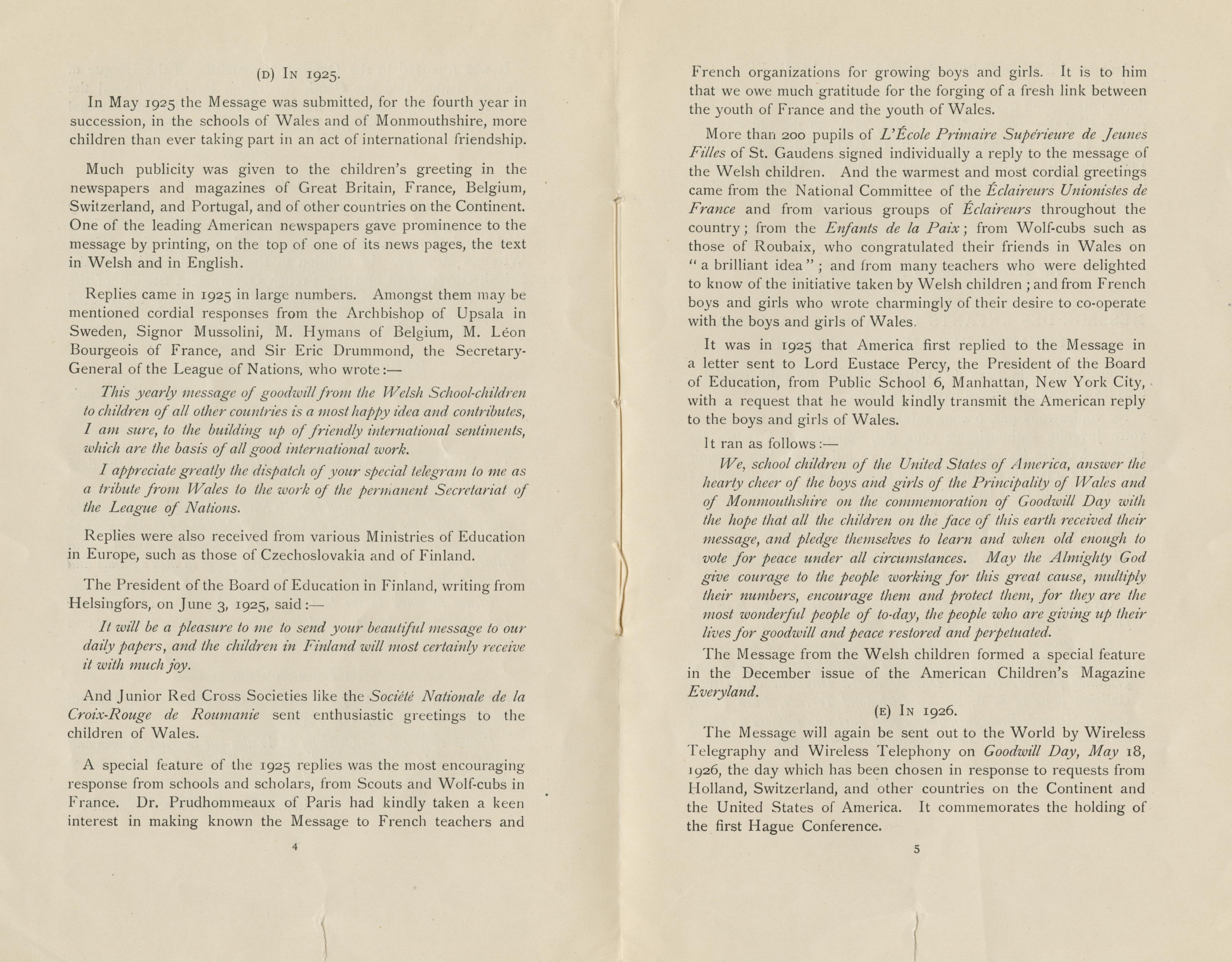 The Message Of Goodwill Of The Children Of Wales 1926