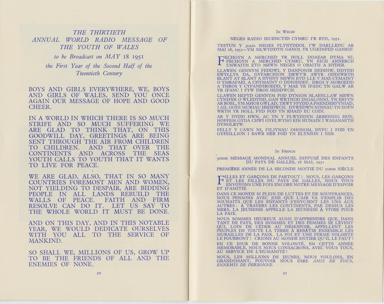 The Message Of Goodwill Of The Children Of Wales 1951
