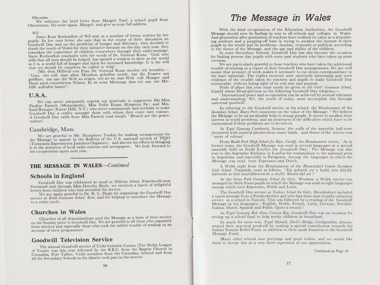 The message of goodwill of the children of Wales, 1967