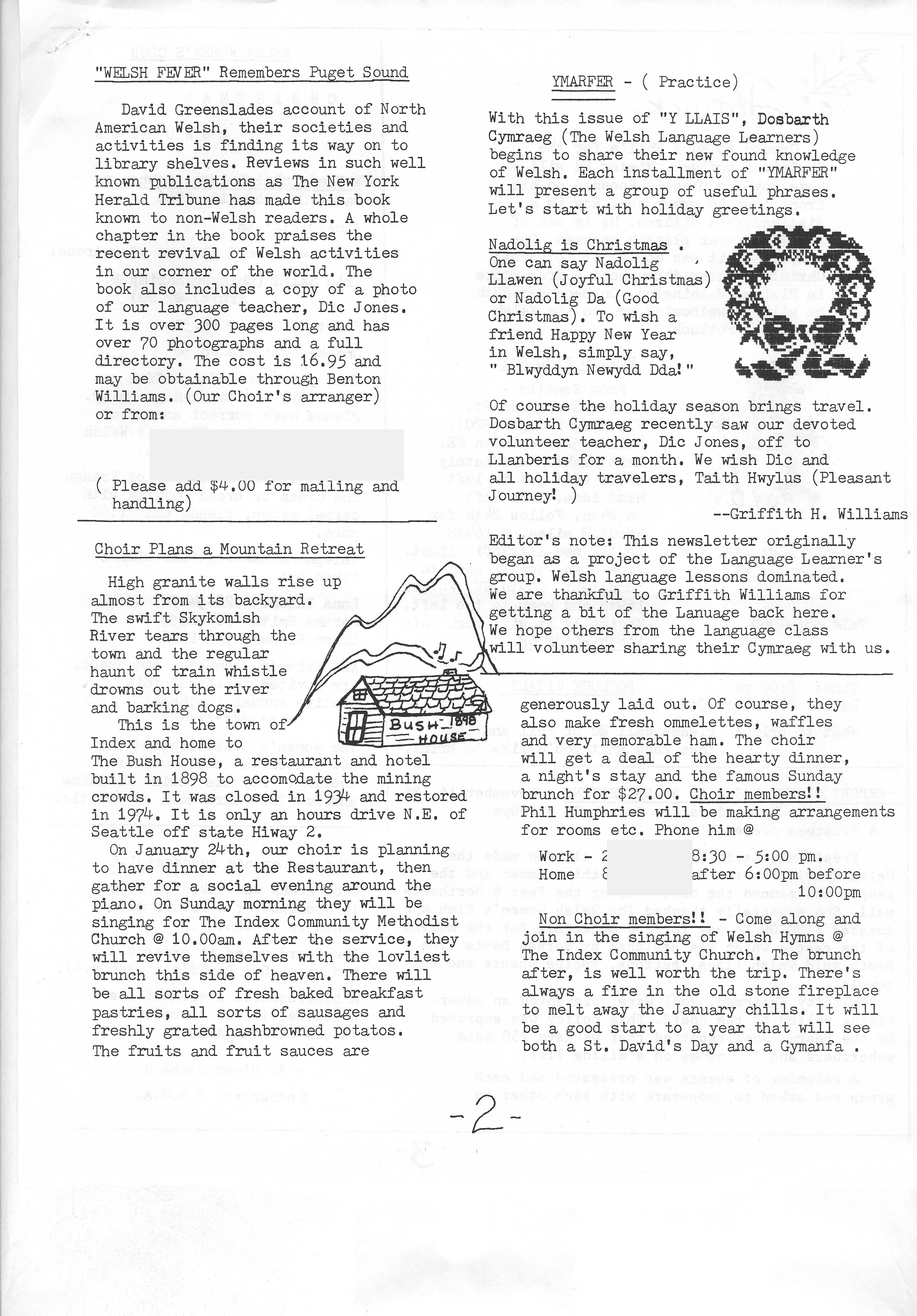 Y Llais Society Newsletter Puget Sound Welsh Association Seattle