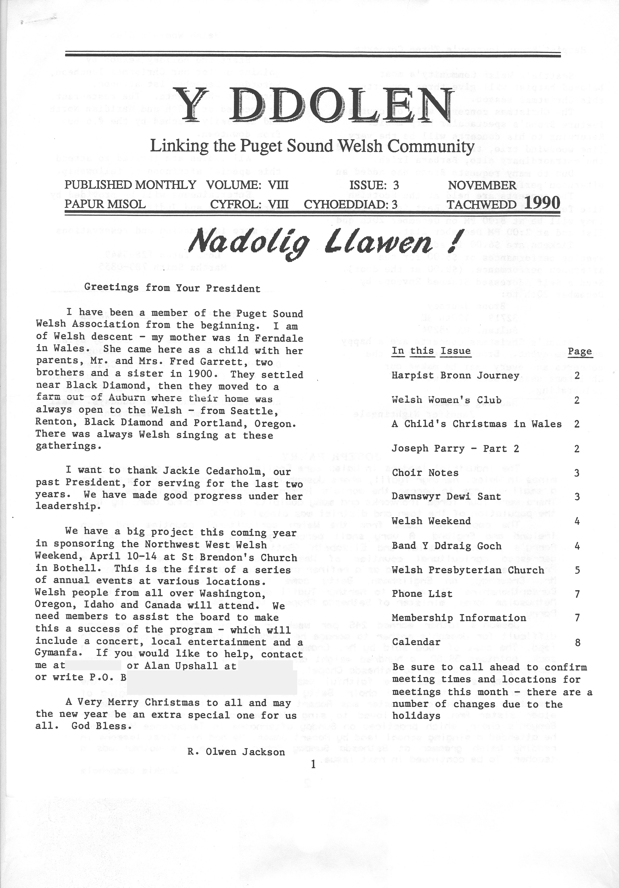 Y Ddolen Society Newsletter Puget Sound Welsh Association Seattle