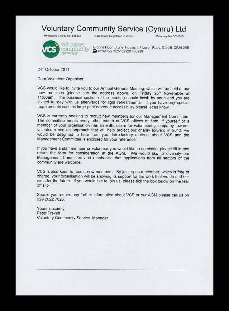 Letter to volunteer organisers from peter trevett inviting them to letter to volunteer organisers from peter trevett inviting them to the annual general meeting cardiff 24 october 2011 altavistaventures Choice Image