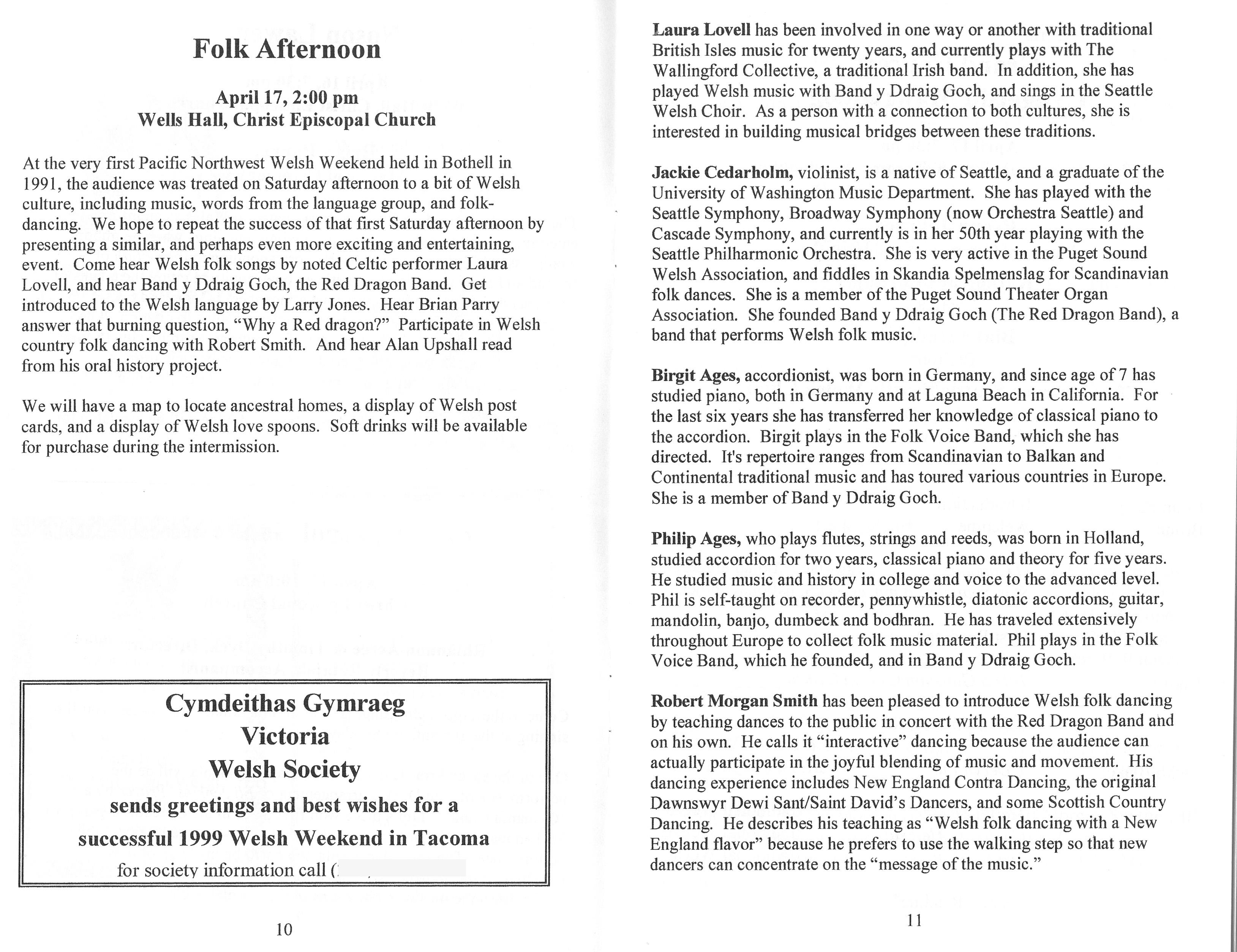 1999 Pacific Northwest Welsh Weekend Handbook