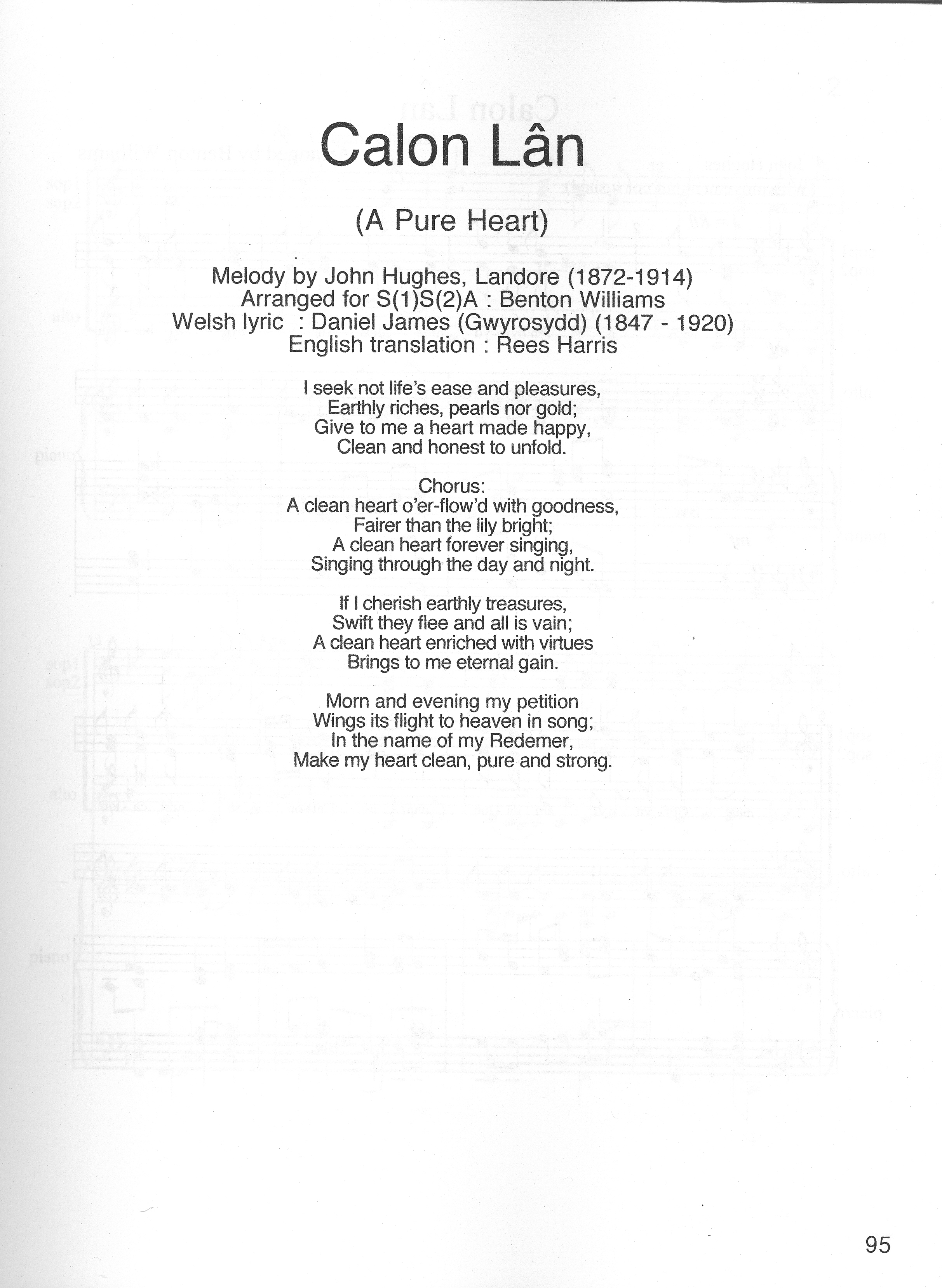 Katherine Jenkins: Calon Lân Lyrics in Welsh and English ...