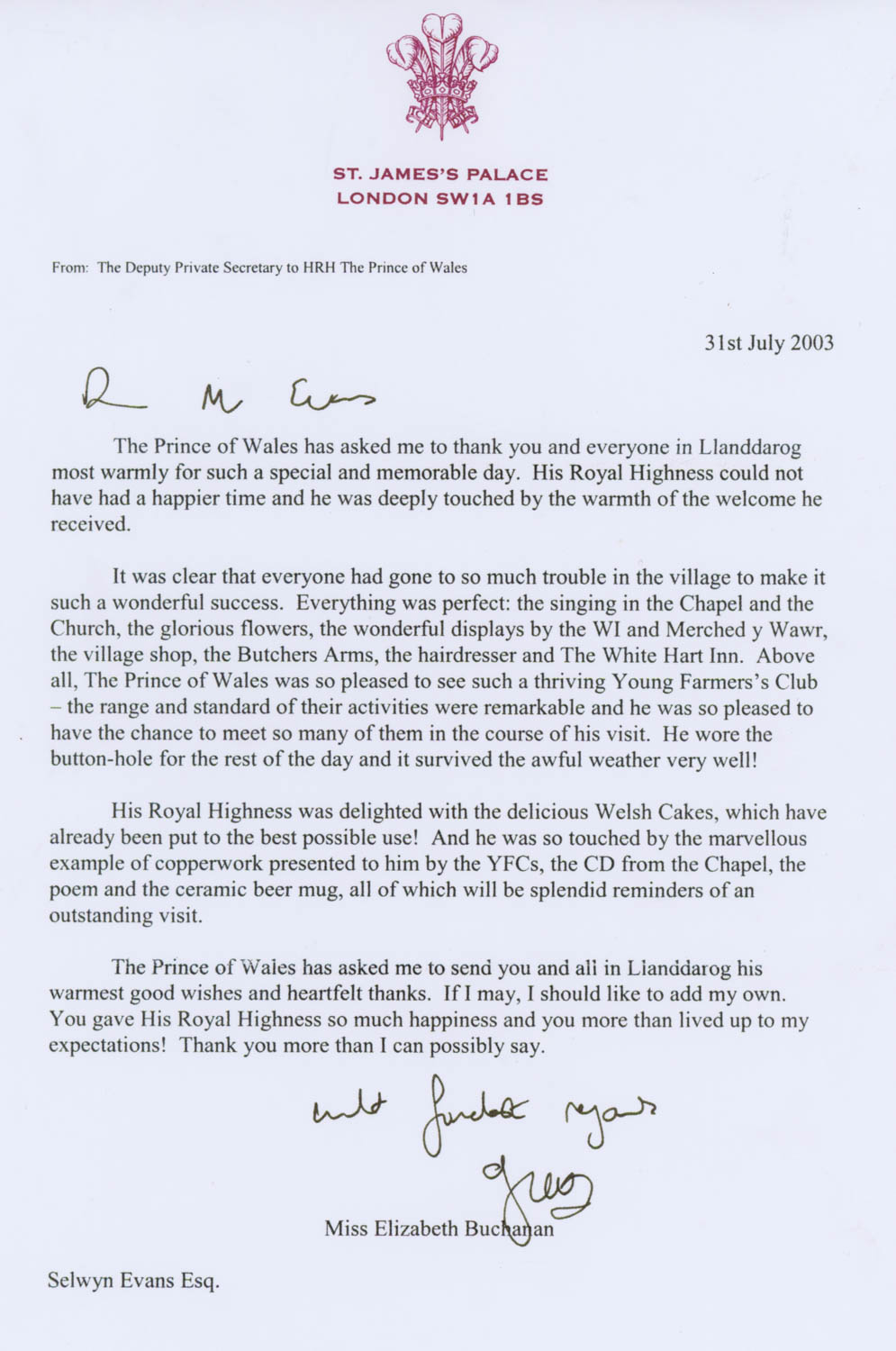 Letter thanking the llanddarog community for the warm welcome letter thanking the llanddarog community for the warm welcome received by prince charles during his visit expocarfo Image collections