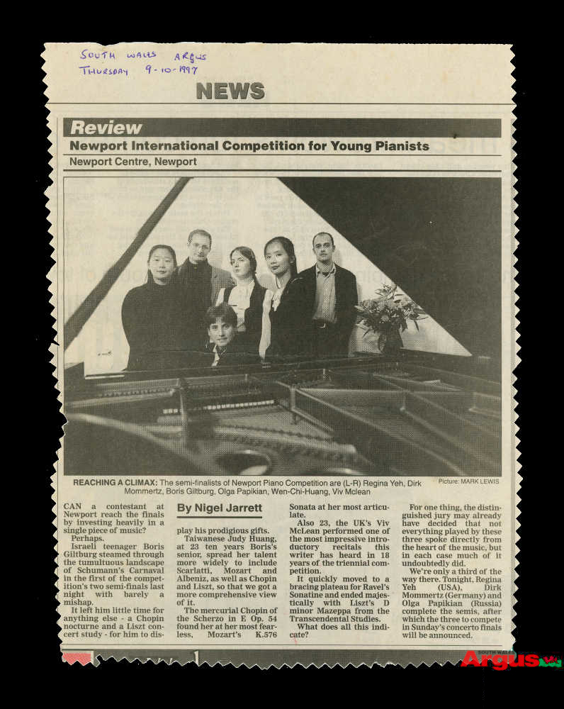 Newspaper Clipping About The Newport International Competition For Young Pianists 9 October 1997