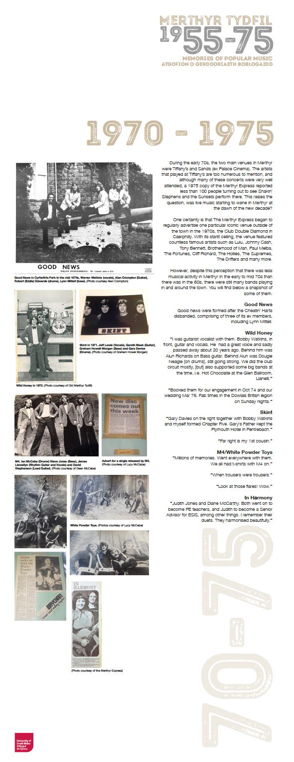 Popular Music in Merthyr Tydfil: 1970-1975