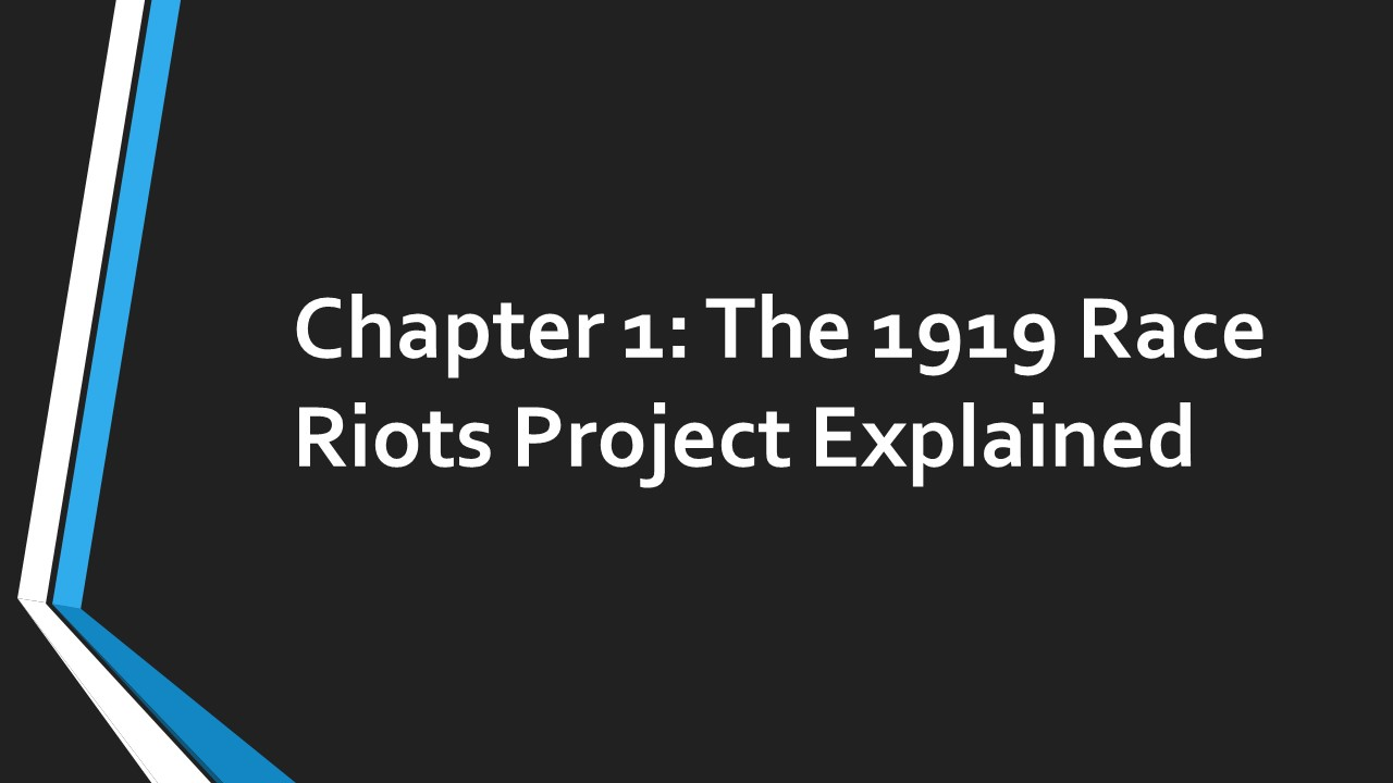 Chapter 1 Race Riots in Wales 1919 The Project...