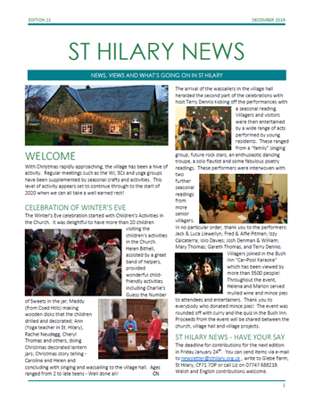 St Hilary News December 2019