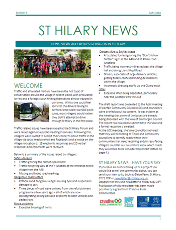 St Hilary News May 2018