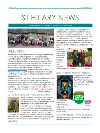 St Hilary News November 2019