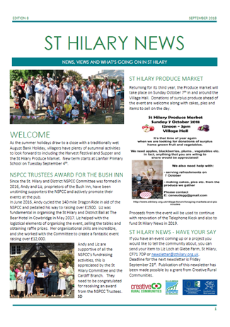 St Hilary News September 2018