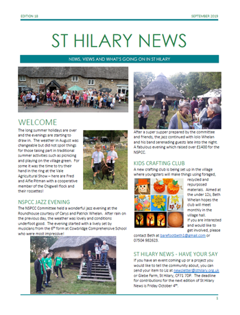 St Hilary News September 2019